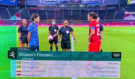 Mónica Amboya presente en el empate entre Japón y Canadá