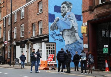 (FOTO) Tremendo homenaje al 'Kun' Agüero en Manchester