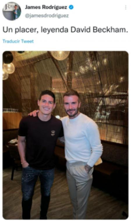 (FOTO) James Rodríguez se encontró con Beckham en Qatar