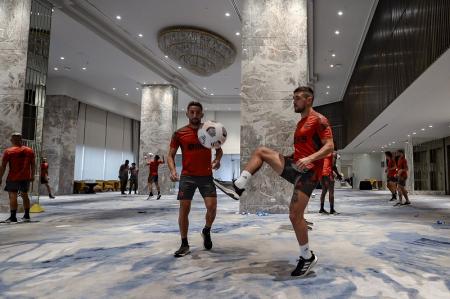 (FOTO) Flamengo entrenó dentro del hotel donde se hospedan en Guayaquil