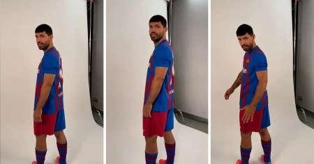 (VIDEO) El video viral del 'Kun' Aguero en su primera sesión de fotos para el Barça